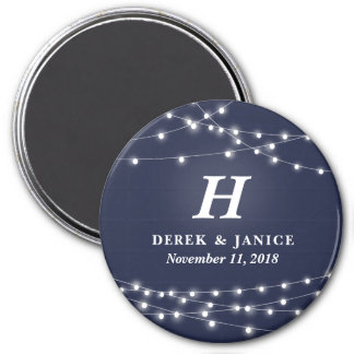 String of Lights Monogram Personalized Wedding Day 3 Inch Round Magnet