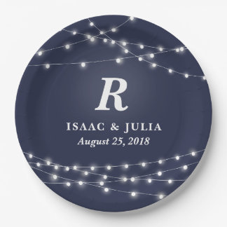 String of Lights Monogram Personalized Wedding Day Paper Plate