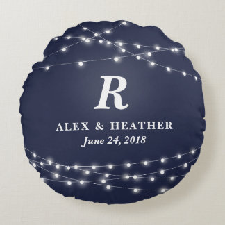 String of Lights Monogram Personalized Wedding Day Round Pillow