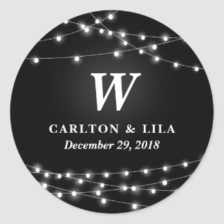 String of Lights Monogram Personalized Wedding Day Round Sticker