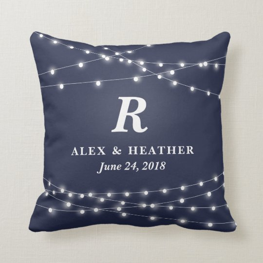 String of Lights Monogram Personalized Wedding Day Throw Pillow