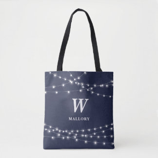 String of Lights Monogram Personalized with Name Tote Bag