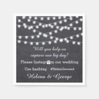 String of lights on chalkboard & hashtag wedding disposable napkin