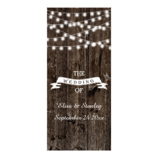 String of lights  on old wood wedding program full colour rack card
