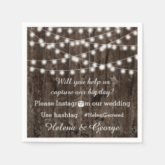 String of lights on wood & hashtag wedding disposable napkins