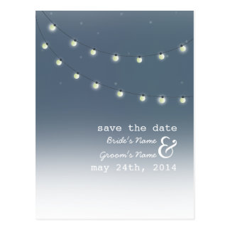 String of Lights Outdoor Evening Save The Date Postcard