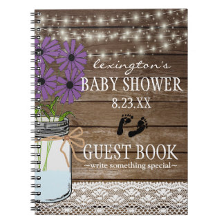 String Of Lights Purple Baby Shower Guestbook | Spiral Notebook