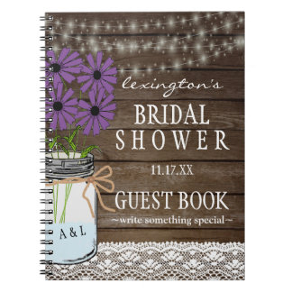 String Of Lights Rustic Bridal Shower Guestbook | Notebook