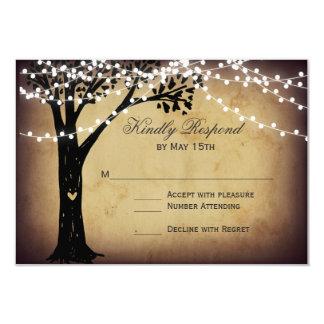 "String of Lights Rustic Oak Tree Wedding RSVP Card 3.5"" X 5"" Invitation Card"