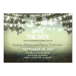 "string of lights rustic SAVE THE DATE FLAT CARDS 4.5"" X 6.25"" Invitation Card"