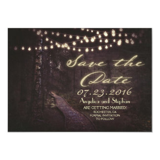 string of lights rustic trees save the date card