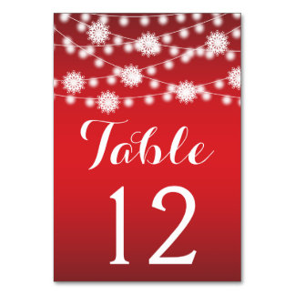 String of lights, snowflake wedding table number