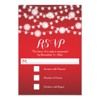 """String of lights & snowflakes red wedding RSVP 3.5"""" X 5"""" Invitation Card"""