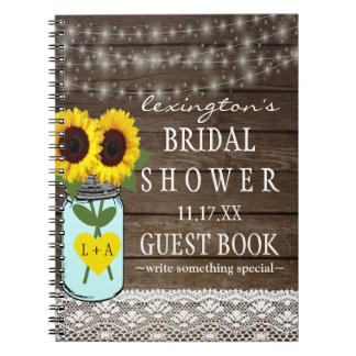String Of Lights Sunflower Bridal Shower Guestbook Notebook