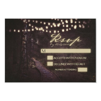 string of lights tree path wedding RSVP Card