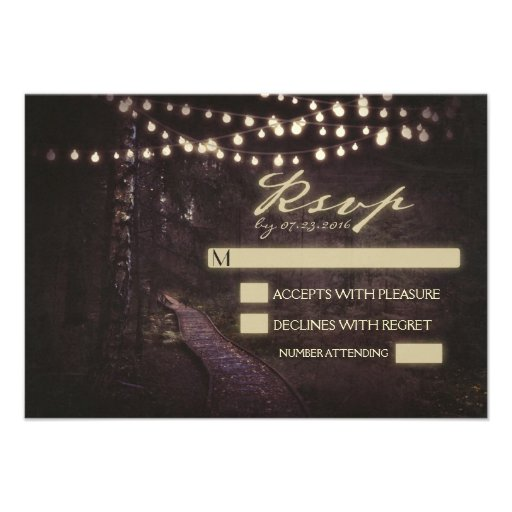 string of lights tree path wedding RSVP Announcement