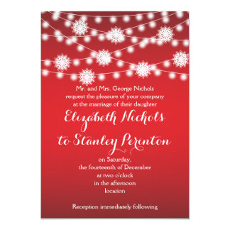 String of lights & white snowflakes red wedding card