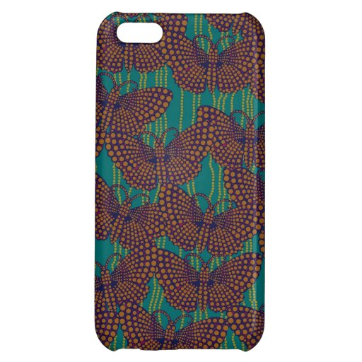 String of Pearls and Butterflies in Orange & Teal iPhone 5C Cases