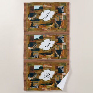Stringed Instrument Window Custom Initials Beach Towel