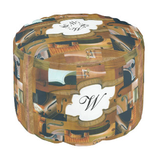 Stringed Instruments Collage Personalized Initials Pouf