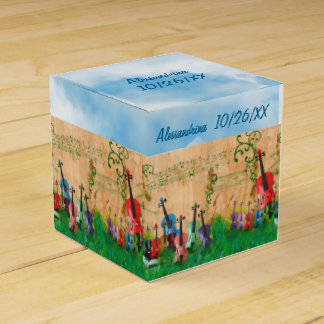 Stringed Instruments Garden Custom Text Wrap-Aroun Wedding Favor Box