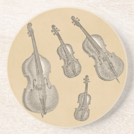 Stringed Instruments Old Line Drawings Coaster