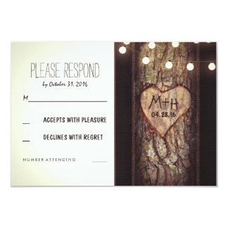 "Strings of Lights Carved Heart Wedding RSVP Cards 3.5"" X 5"" Invitation Card"