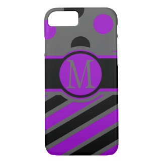 Stripe and dots monogram iPhone 7 case