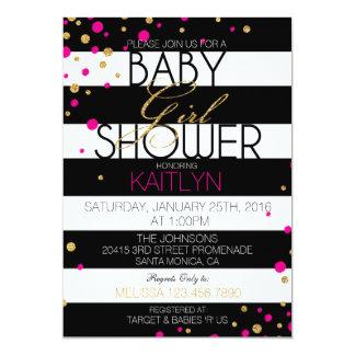 Stripe and Glitter Dots Baby Shower Invitation