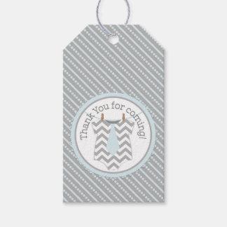 Stripe Blue Tie Jumper Baby Shower Gift Label