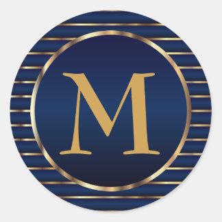 Stripe Dark Blue & Gold Monogram Envelope Seal Round Sticker