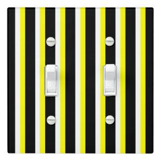 Stripe Design - Black, White, Yellow- Light Switch