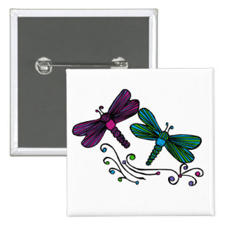 Stripe dragonflies button