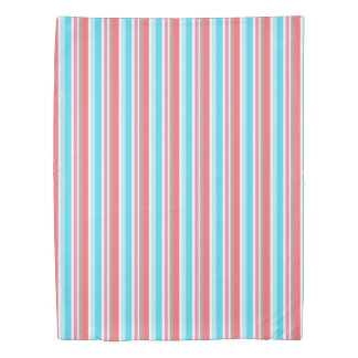 Stripe Girly Stripes Blue Coral Twin Comforter Duvet Cover