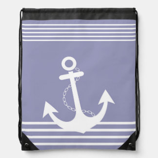 Stripe Lavender White Pattern with Anchor Drawstring Bags
