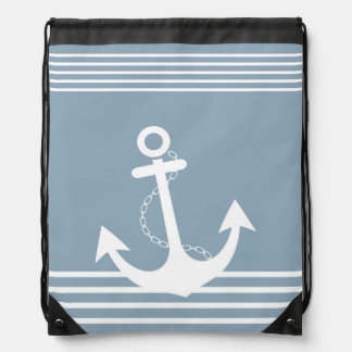 Stripe Light Blue White Pattern with Anchor Backpacks