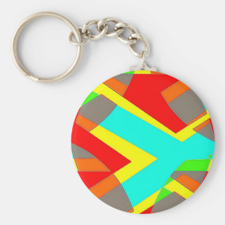 Stripe Nobel Basic Round Button Keychain