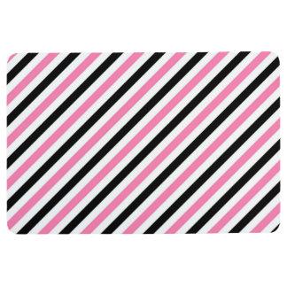 STRIPE PATTERN PILLOW Diagonal Pink, Black & White Floor Mat