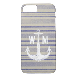 Stripe pattern vintage monogram iPhone 7 case