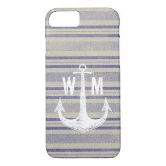 Stripe pattern vintage monogram iPhone 8/7 case