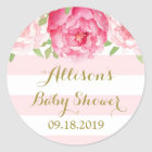 Stripe Pink Blush Floral Baby Shower Favour Tag