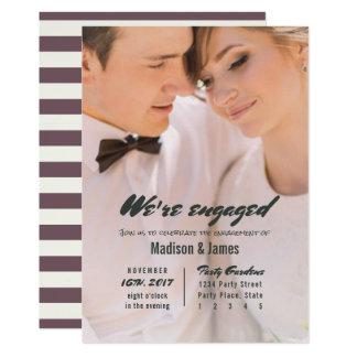 Stripe   plum   Engagement Party Invitations