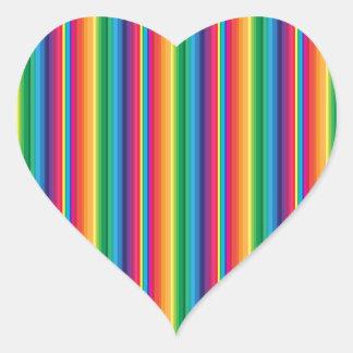Stripe rainbow heart stickers