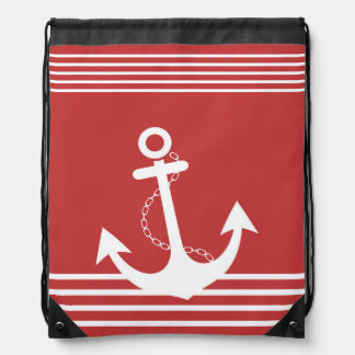 Stripe Red Pattern with Anchor Drawstring Bags