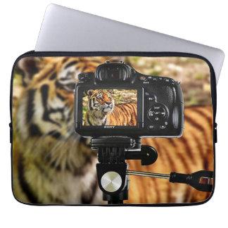 Stripe Tiger In Photo Shoot Laptop Sleeve