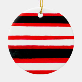 Striped Abstraction Design Ceramic Ornament
