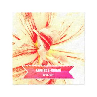Striped Amaryllis Flower Custom Wedding Canvas Print