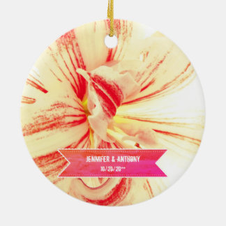 Striped Amaryllis Flower Custom Wedding Ceramic Ornament