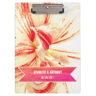 Striped Amaryllis Flower Custom Wedding Clipboard