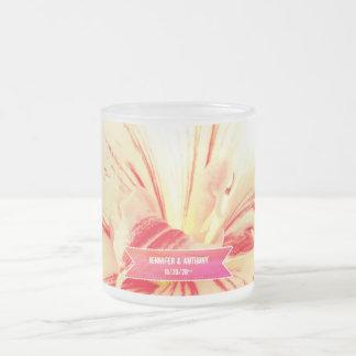 Striped Amaryllis Flower Custom Wedding Frosted Glass Coffee Mug